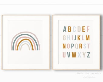 Rainbow Print Set, Printable Rainbow, Nursery Print Rainbow, Printable Nursery Wall Art, Nursery Print Set, Gender Neutral, Kids Print Set