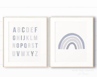 Blue Nursery Prints, Nursery Print Set, Rainbow Art Print, Alphabet Printable, Blue Nursery Art, Blue Wall Art, Kids Prints, Prints Set of 2
