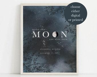 Moon Print, Custom Nursery Art, Nursery Moon Print,  Moon Phase Print, Nursery Wall Art, Custom Birth Art, Baby Shower Gift, New Baby Gift