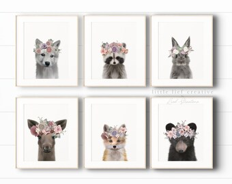 Woodland Animal Print Set, Woodland Nursery Art, Nursery Animal Art, Woodland Baby Animal Nursery Decor, Printable Art, Baby Animal Prints