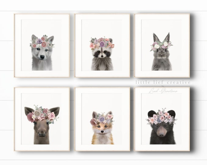 Featured listing image: Woodland Animal Print Set, Woodland Nursery Art, Nursery Animal Art, Woodland Baby Animal Nursery Decor, Printable Art, Baby Animal Prints