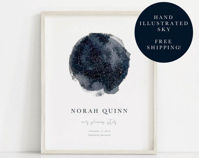 Featured listing image: Custom Star Map, Star Map Print, Night Sky Print, Star Map Gift, Wedding Gift, Custom Wedding Gift, Custom Sky Map, Night Sky Poster