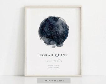 Custom Night Sky Print, Night Sky Print, Custom Star Map, Custom Sky Map, Night Sky Poster, Wedding Gift, Personalized Nursery Print