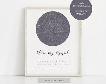 Night Sky, Custom Star Map, Night Sky Print, Custom Night Sky, Mother's Day Gift, Wedding Gift, Custom Sky Map, Gift For Him