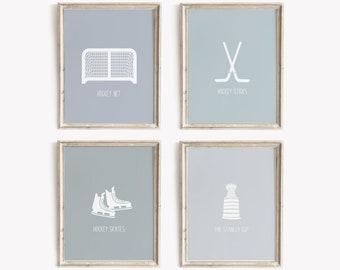 Hockey Art Prints, PRINTABLE Art, Hockey Wall Art Prints, Hockey Decor, Kids Wall Art, Nursery Wall Art, Boys room art, Sports Art Prints