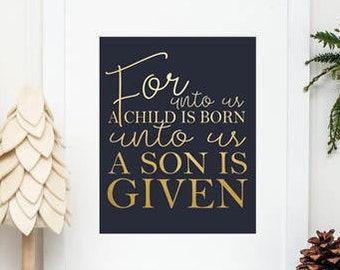 Christmas Printable Art, Christmas Art, Printable Art, Christmas Decor, Printable Christmas Wall Art, For Unto Us, Navy and Gold Christmas
