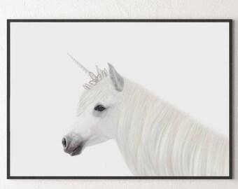 Unicorn Print, Unicorn Art, Unicorn Printable, White Unicorn, Unicorn Poster, Animal Print, Nursery Decor, Unicorn Photo, Kids Room Decor