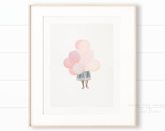 Balloon Nursery Art, Pink Girls Room Decor, Balloon Art, Girls Room Art, Nursery Art, Little Girl Nursery Decor, Balloon Printable