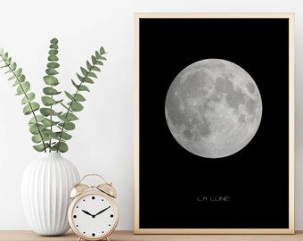 Moon Poster, La Lune Poster, Moon Print, Full Moon Poster, Moon Printable, Nursery Printable, Space Poster, Tween Wall Art, Nursery Decor