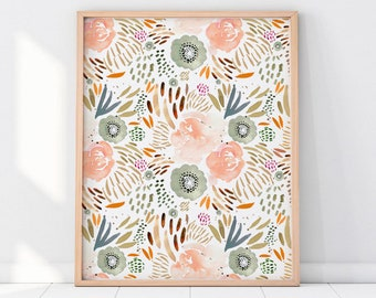 Boho Floral Wall Art, Boho Floral Printable, Blush Wall Art, Watercolor Printable Art, Boho Nursery, Peach Nursery Art, Floral Wall Art