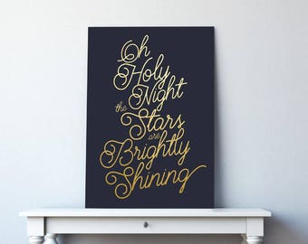 Navy and Gold Christmas Print, Navy and Gold Print, Christmas Print, Navy and Gold Christmas Decor, Christmas Printables, Oh Holy Night