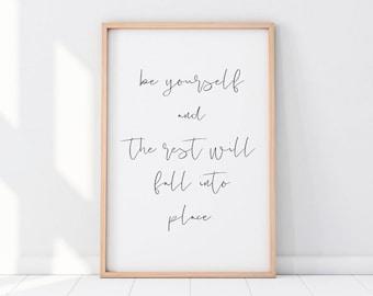 Be Yourself Print, Inspirational Wall Art, Inspirational Printables, Be Yourself Wall Art, Be Yourself, Nursery Print, Kids Room Print