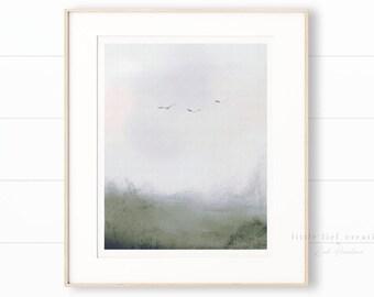 Abstract Nature Art, Minimalist Nature Print, Nature Printable, Abstract Landscape Print, Birds Print, Abstract Printable, Impressionist Art