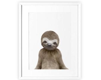 Sloth Print, Nursery Art, Baby Animal Printable, Sloth Wall Art, Sloth Art Print, Sloth Printable, Baby Animal Prints, Nursery Print Animal