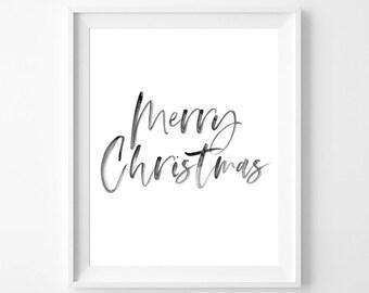 Printable Christmas Art, Printable Christmas Signs, Calligraphy Printable, Merry Christmas Sign, Calligraphy Christmas, Christmas Print