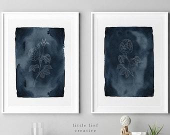Set of 2 Prints, Prints Set of 2, Floral Prints, Wall Art Set of 2, Botanical Art Print Set, Flower Art Prints, Line Drawing PRINTABLE