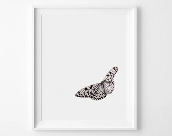 Butterfly Print, Butterfly Wall Art, Butterfly Printable, Nature Print, Minimalist Art, Nursery Decor, Kids Room Decor, Pink Butterfly Print
