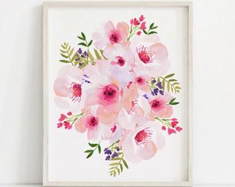 Pink Floral Print, Floral Bouquet, Floral Watercolor, Pink Floral Art, Pink Flowers Print, Floral Printable, Flower Poster, Floral Print