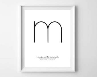 Black and White Montreal City Printable - Modern Minimal City Print - M is for Montreal - Montreal Wall Art - Montreal City Print - Montreal