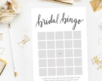 Bridal Bingo Printable, Bridal Bingo Downloads, Bridal Shower Games, Black White Bridal Shower, Printable Bingo, Printable Shower Game