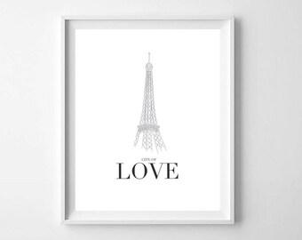 Black and White Paris PRINTABLE - Eiffel Tower Print - Minimal Paris Print - Modern Nursery Decor - Girls Room Decor - Paris Wall Art