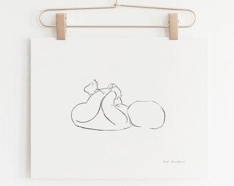 Minimalist Nursery Print, Baby Illustration, Line Drawing Print, Baby Minimalist, Line Art, Minimalist Print, Nursery Print, Nursery Decor