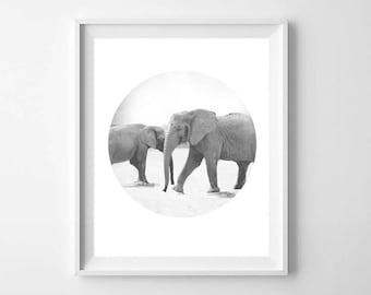 Safari Elephant PRINTABLE - Baby Animals Wall Art - Safari Nursery Elephant Print - Black White Nursery Animal Print - Kids Room Decor