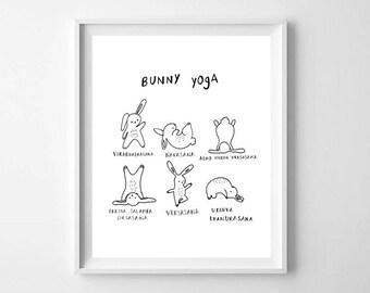 Yoga Poses PRINTABLE - Funny Yoga Wall Art - Yoga Inspiration - Yoga Studio Print - Yoga Poses Print - Bunny Yoga Print - Yoga Print