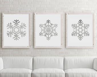 Snowflake Printable, Snowflake Print, Snowflake Wall Art, Christmas Decor, Christmas Printable, Holiday Printables, Set of 3 Snowflakes