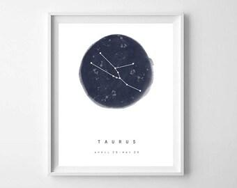 Taurus Zodiac Sign Print, Star Map, PRINTABLE ART, Taurus star sign, Astrology Art, Zodiac Art Print, Constellation Print, Horoscope Art
