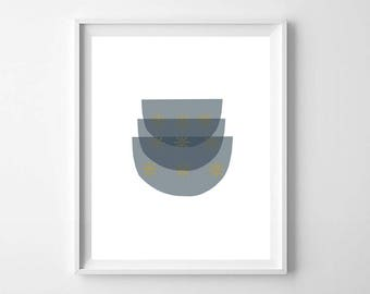 Mid Century Modern Kitchen Art, Printable Art, Kitchen Prints, Kitchen Wall Art, Mid Century Bowls, Stacked Bowl Print, Modern Abstract Art