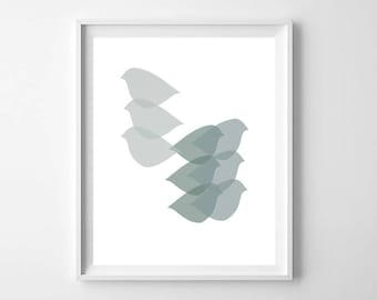 Mid Century Bird Wall Art, Printable Art, Mid Century Printable, Mid Century Modern Art, Scandinavian Decor, Scandi Wall Art, Bird Art Print