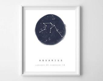 Aquarius Print, Zodiac Sign, Star Map, Printable Art, Constellation Print, Astrology Print, Constellation Wall Art, Zodiac Wall Art