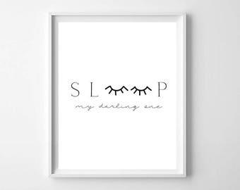 Sleep Eyelash Print, Printable Art, Bedroom Wall Art, Sleep in Print, Black and White Prints, Sleep Wall Art, Eyelash print, Bedroom Decor