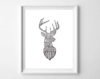 Christmas Deer Decor, Christmas Printable, Deer Print, Deck the Halls Print, Rustic Christmas Decor, Rustic Deer Print, Christmas Decor