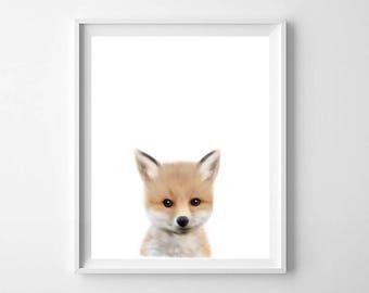 Fox Print, Baby Fox Print, Printable Art, Nursery Wall Art, Fox Wall Art, Nursery Decor, Printable decor, Kids Room Decor, Kids Art