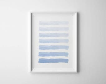 Blue Watercolor Print, Striped Wall Art,Watercolor Stripes, Blue Wall Art,Watercolor Print, Blue Printable, Watercolor Printable, Blue Print