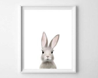 Woodland Rabbit Print, Bunny Print, Printable Art, Nursery Art, Animal Art, Nursery Wall Art, Bunny Wall Art, Baby Animals, Kids Room Decor
