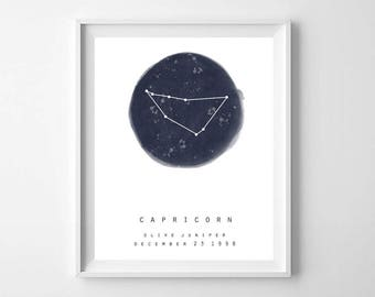 Zodiac Print, Star Map, Printable Art, Personalized Name Print, Personalized Zodiac Sign, Zodiac Sign, Astrology Print