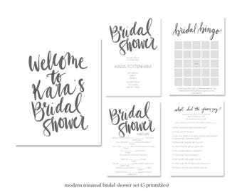 Bridal Shower Set, Black White Bridal Shower, Custom Shower Sign, Bridal Shower Games Set, Bridal Shower Sign, Custom Bridal shower sign