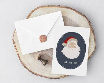Printable Christmas Cards, Printable Cards, Christmas Cards, Printable Santa Card, Santa Christmas Card, Printable Greeting Card, Santa Card