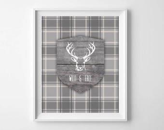 Wild and Free print, Wild and Free Decor, Printable Art, Deer Head Print, Deer Print, Rustic Deer Decor, Wild and Free Printable, Deer Head