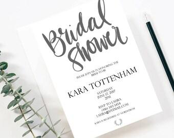 Printable Modern Bridal Shower Invite Template - Modern Bridal Shower Invitation - Modern Elegant Shower Invite - Minimalist Bridal Shower