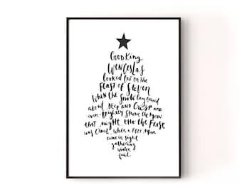 Christmas printable art, Christmas Printable, Christmas Song Print, Hand Lettered Print, Christmas Wall Art, Printable Art, Christmas Decor
