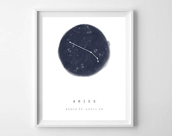 Aries Print, Zodiac Gift, Constellation Print, Constellation Printable, Aries Gifts, Aries Wall Art, Zodiac Print, Aries Art, Aries Artwork