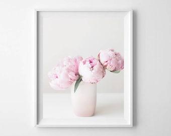 Pink Peony Floral Printable - Peony Photograph - Pink Peony Printable - Floral Wall Print - Pretty Floral Print - Home Decor - Nursery Print