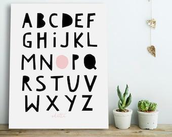 Personalized Alphabet Poster, Alphabet Poster, Nursery Alphabet Poster,Personalized Nursery Printable,Personalized Kids Prints, Alphabet Art