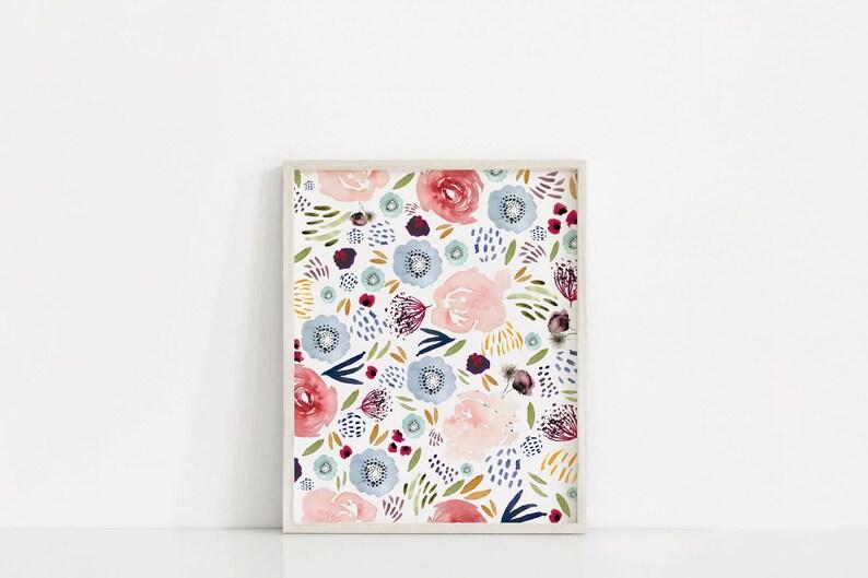 Floral Watercolor Printable Printable Art Floral Blooms image 0