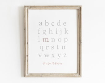 Custom Nursery Print, Watercolor Print, Watercolor ABC, Custom Alphabet, Nursery Wall Art, Kids ABC Poster, Custom Name Print, Printable Art