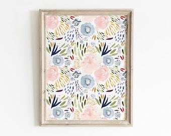 Rose Watercolor Painting, Printable Wall Art, Watercolor Floral Print, Nursery Wall Art, Watercolor Art Print, Floral Art Print, Girls Room